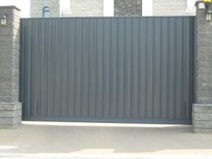откатные ворота серые