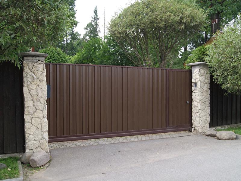 откатные ворота со встроенной калиткой