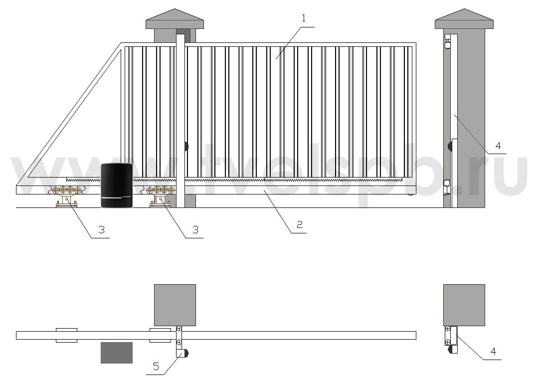 конструкция въездные откатные ворота ТВЕЛЬ