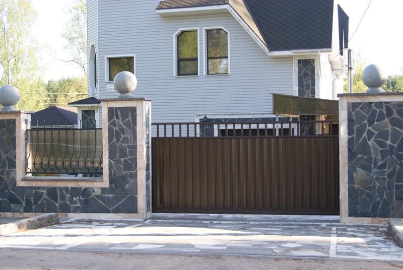 откатные ворота с решеткой
