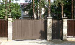 металлические откатные ворота с калиткой