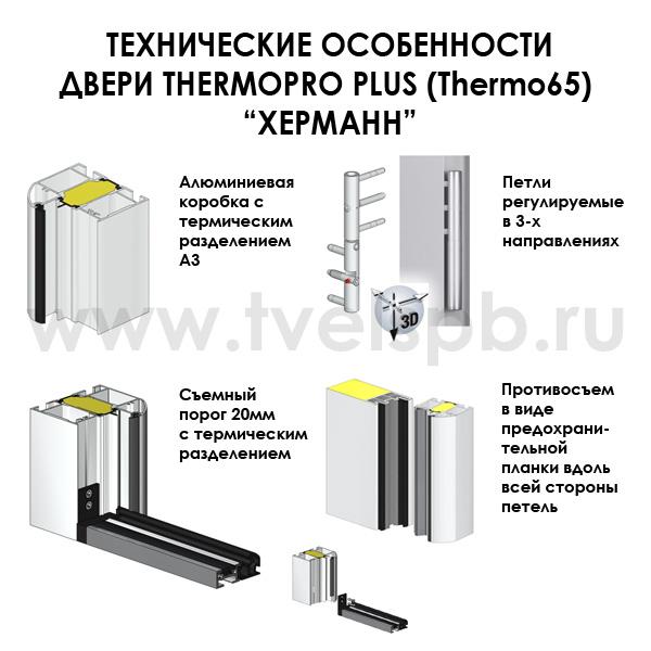 Технические особенности входных дверей Thermo65 Херманн