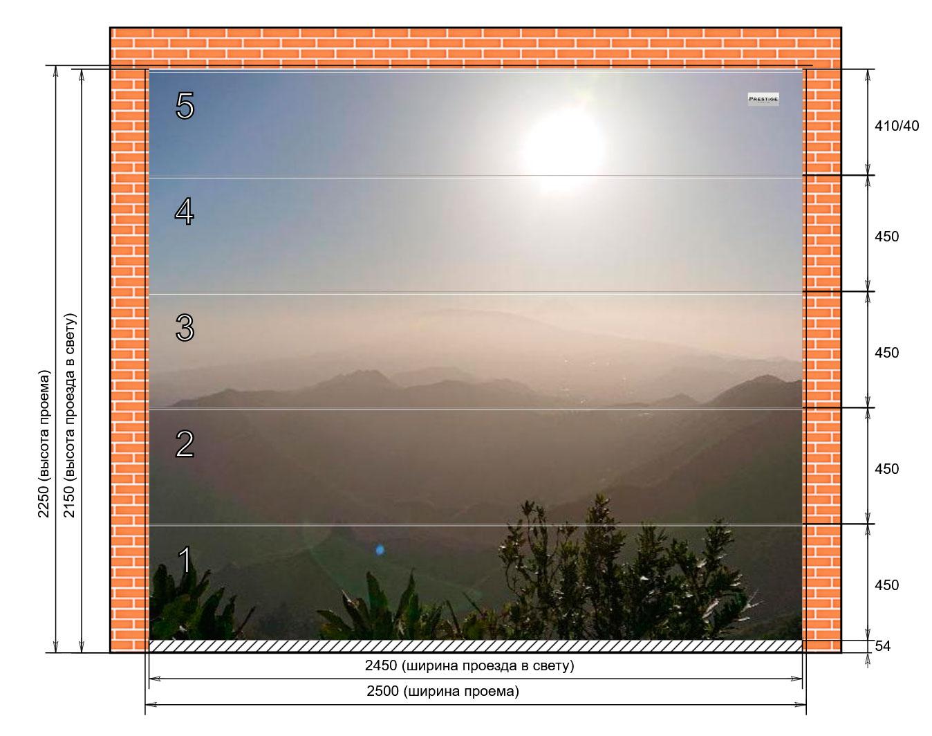 фото макет гаражные ворота Prestige-горы