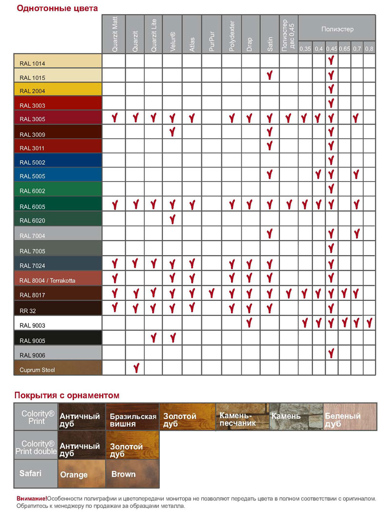 Карта цветов профлиста и штакетника Гранд-лайн