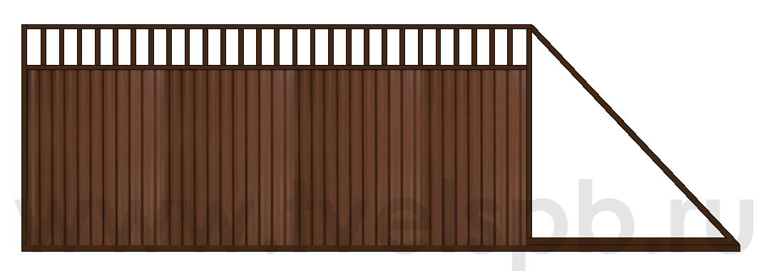 откатные ворота ТВЕЛЬ комбинированная зашивка проф.лист и решетка RAL8017