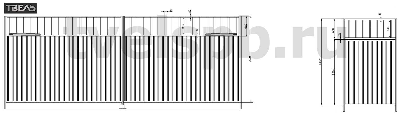 распашные ворота с калиткой в стиле ворот